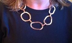 """""""Heavy Chunk"""" hammered copper necklace"""