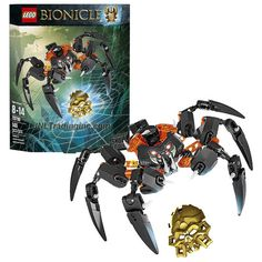"""Lego Bionicle Series 8"""" Wide Figure #70790 - LORD OF SKULL SPIDERS with Lever-Operated Grip-and-Crush Plus Golden Skull Spider (Total Pieces: 145)"""
