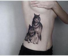pair wolf tattoo designs