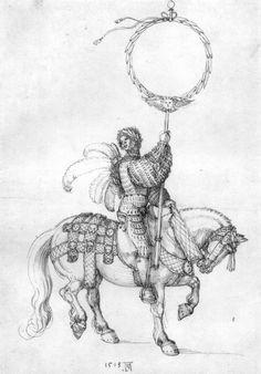 Artist: Dürer, Albrecht, Title: Der große Triumphwagen, Detail: Junger Reiter als Kranzträger, Date: 1518