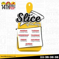 Here is our complete Slice of the Day menu, take a look! #14thStreetPizza #OriginallyYours #NewLook #SliceoftheDay  To order: http://www.14thstreetpizza.com/order…/deals-slice-of-the-day