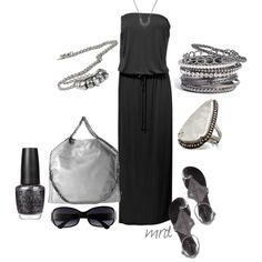 Black Maxi Dress :) This will be great when I reach my goal weight. Summer Outfits, Casual Outfits, Cute Outfits, Spring Summer Fashion, Autumn Winter Fashion, Summer 2015, Weekend Wear, Black And Grey, Black Silver