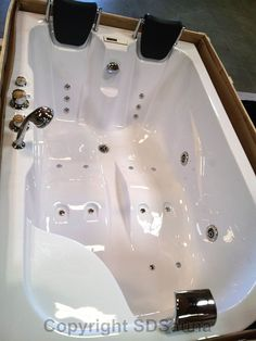 Two 2 Person Jacuzzi Whirlpool Massage Hydrotherapy White Bathtub Tub with FREE Remote Control and Water Heater - Amazon.com