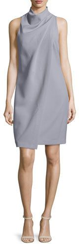 Halston Heritage Slate Gray Sleeveless Mock-Neck Drape Dress {worn by Rena Sofer's Quinn ♥ The Bold + The Beautiful}