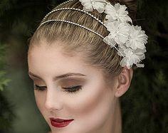 Bridal Headband, Wedding Hair Accessories, Swarovski Crystal Rhinestone Headband, Silk Organza Flower Cluster Bridal Headpiece (ELISHA)