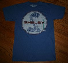 Official Shelby Cobra Ford Mustang Muscle Car T-Shirt blue Tee-Men's Medium-New