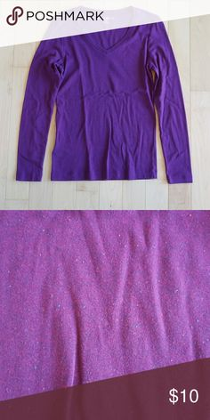 Eddie Bauer Long Sleeve V Neck Size M Eddie Bauer Long Sleeve V Neck Size M. Purple with small blue and red dot detail in the fabric (as pictured). 100% Cotton. Eddie Bauer Tops Tees - Long Sleeve