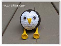 penguin, golf ball, golf ball craft, recycle golf balls, recycle, recycling, craft, crafting, crafts, craft ideas, idea, ideas, cute, penguin craft, unexpected, unique, diy, gift, present