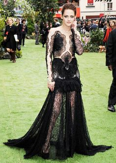 The Snow White and the Huntsman actress wore Marchesa in London