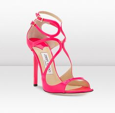 Jimmy Choo | Lance | Fuchsia Neon Patent Leather Strappy Sandals | JIMMYCHOO.COM