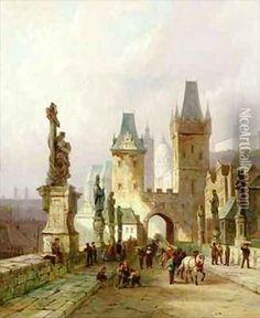 Charles Bridge, Prague Oil Painting - Pieter Cornelis Dommerson
