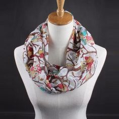 Women's infinity fashion owl print scarf Material: Voile Size: Approx. 50cm*170cm Color: white