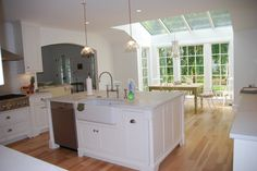 Kitchen Island Designs With Sink | Kitchen Decoration Ideas With White Kitchen Island, Curve Steel Sink ...