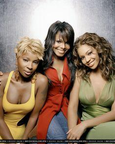 Mary J Blige, Janet Jackson & Beyonce. Girl Bands, Boy Band, Janet Jackson, Destiny's Child, Black Celebrities, Celebs, Dona Summer, New School Hip Hop, Vintage Black Glamour