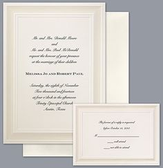 Show your sophistication with this #wedding #invitation made from rich, heavy paper. An embossed border of pearl shimmer surrounds your wording on this simply elegant card. Invitations by David's Bridal Style DB6166