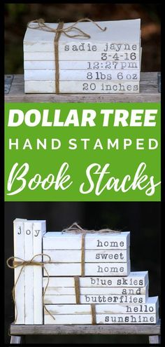 DIY Dollar Tree Hand Stamped Book Stacks This is my favorite Dollar Tree craft of all time Learn how to take 1 Dollar Tree books and turn them into cute farmhouse hand st. Dollar Tree Gifts, Dollar Tree Decor, Dollar Tree Christmas, Dollar Store Crafts, Crafts To Sell, Dollar Stores, Sell Diy, Dollar Dollar, Diy Crafts Dollar Tree