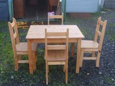 Mexican Pine Dining Table With 4 Chairs