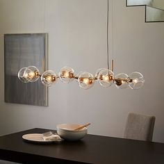 Staggered Glass Chandelier - bulbs brass only also 8 light avail Dining Room Light Fixtures, Kitchen Lighting Fixtures, Dining Room Lighting, Bedroom Lighting, Interior Lighting, Home Lighting, Modern Lighting, Office Lighting, Outdoor Lighting