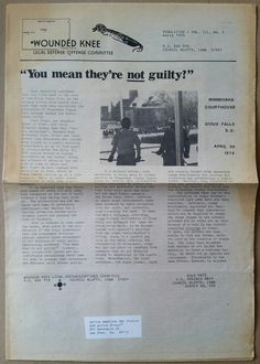 """(1 of 6) """"You mean they're not guilty!"""" - Wounded Knee Legal Defense / Offense Committee, Council Bluffs, Iowa, April 1975."""