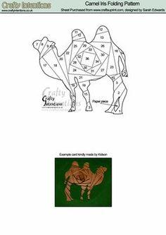 Camel Iris Folding Pattern on Craftsuprint designed by Sarah Edwards - Camel… Iris Folding Templates, Iris Paper Folding, Iris Folding Pattern, Origami Folding, Paper Pieced Quilt Patterns, Card Patterns, Paper Cards, Folded Cards, Foundation Paper Piecing