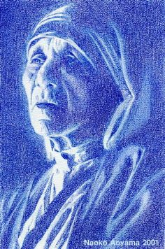 color pencil by Naoko Aoyama Naoko, Catholic Art, Mother Teresa, Colored Pencils, Spirituality, Portrait, Illustration, Colouring Pencils, Color Crayons
