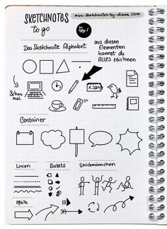 Sketchnotes and handlettering in the Bullet Journal - Sketchnote Tipps & Tricks - Arte Bullet Journal Hacks, Bullet Journal Layout, Bullet Journal Inspiration, Minimalist Bullet Journal, Visual Note Taking, Note Doodles, Sketch Notes, School Notes, Journal Pages