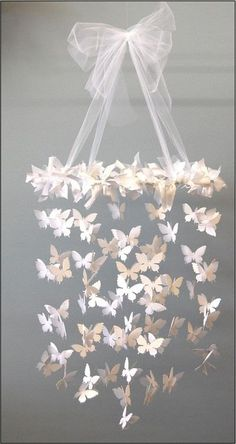 Butterfly paper chandelier girl room mobile baby by artistandart