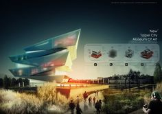 New Taipei City Museum of Art Conceptual design competition by Huang, Hsiao rou and Liao, Hung Kai Architecture Panel, Architecture Graphics, Architecture Visualization, Architecture Portfolio, Architecture Design, Architecture Presentation Board, Presentation Layout, Presentation Boards, Architectural Presentation