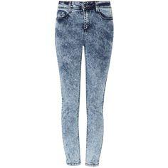 Blue Acid Wash High Rise Ankle Grazer Skinny Jeans