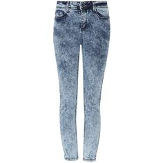 Blue Acid Wash High Rise Ankle Grazer Skinny Jeans