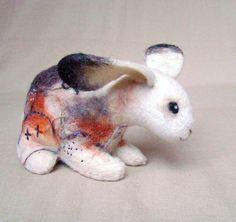 Stefania  - Felt  Little Hare.  Art  Toy. Felted, Stuffed Animals. MADE TO ORDER