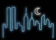 Neon NYC Skyline by Pacifico Columbo Tumblr Neon, Neon Bleu, Neon Words, Neon Backgrounds, Marquee Lights, Marquee Letters, I Love Nyc, Nyc Skyline, Neon Wallpaper