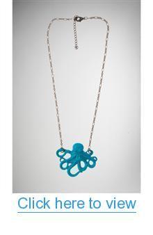 Blue Octopus Necklace #Blue #Octopus #Necklace