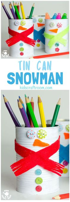 TIN CAN SNOWMAN CRAFT - Kids will love turning old tin cans into Snowman Desk Tidies and a Snowman Bowling Game with this cute and easy Tin Can Snowman Craft.  A fun Winter craft for kids. #snowman #snowmancrafts #wintercrafts #wintercraftideas #wintercraftsforkids #recycledcrafts #tincan #craftideasforkids #kidscraftroom via @KidsCraftRoom