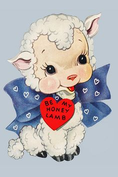Be my honey lamb vintage valentine