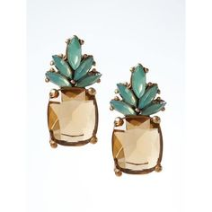 Banana Republic Pineapple Jewel Stud Earring ($17) ❤ liked on Polyvore featuring jewelry, earrings, gold, banana republic, pineapple jewelry, jeweled earrings, jewels jewelry and pineapple earrings