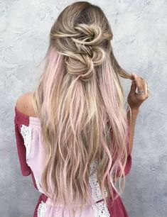 Get all the pink hair inspiration you need right here, with the hottest pink highlights looks around, from ombre and streaks to soft pastels and bold brights. Blonde Hair With Pink Highlights, Rosa Highlights, Pink Blonde Hair, Blonde With Pink, Pink Peekaboo Highlights, Prom Hairstyles For Long Hair, Easy Hairstyles, Hairstyle Ideas, Hair Game
