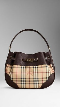 Medium Leather Haymarket Check Hobo Bag | Burberry. Why must you be so expensive!!!