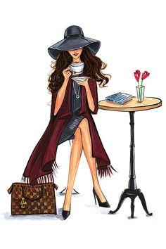Lady Latte (Fashion Illustration Print - Fashion Sketch prints - Home Decor - Wall Decor - Fashionistas) - Fashion Illustration Sketches, Fashion Sketches, Illustration Art, Drawing Fashion, Fashion Wall Art, Fashion Prints, Arte Latina, Girly Drawings, Lady