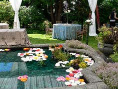 Floating flowers on the reflecting pool for a summer wedding-Villa Marco Polo Inn - Victoria BC/ Vancouver island Weddings Summer Wedding, Wedding Day, Victoria Wedding, Floating Flowers, Marco Polo, Island Weddings, Vancouver Island, Vows, Elegant Wedding