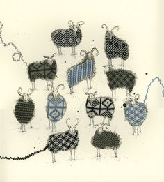 Sanquhar-sheep.  Mixed Media Textile Art, with thanks to Textile artist Anna Wright, Artist Study Resources for Art Students , CAPI ::: Create Art Portfolio Ideas at milliande.com , Art School Portfolio Works