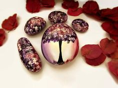 Painted stones - unique art, home decor and. Stone Painting, Rock Painting, Plum Room, Plum Decor, Forest Festival, Tree Artwork, Hand Painted Rocks, Acrylic Colors, Something Beautiful