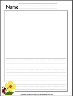 Ladybug Kindergarten Writing Template  Lined Paper With Drawing Box