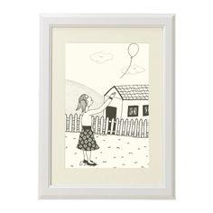 Girl with balloon illustration black pen illustration by liatib, $21.00