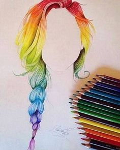 Element of art: Colour This rainbow hair drawing shows a variety of colours being used. Amazing Drawings, Beautiful Drawings, Cute Drawings, Amazing Art, Colorful Drawings, Awesome, Pelo Multicolor, Rainbow Hair, Rainbow Braids