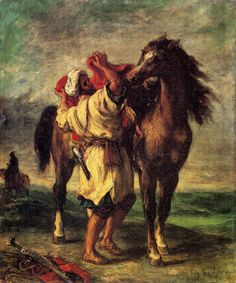 Ferdinand Victor Eugene Delacroix Paintings-A Moroccan Saddling A Horse, 1855