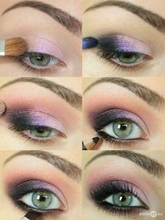 Purple makeup.