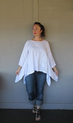 Original design Large X Large upcycled antique linen top / French shabby Lagenlook shirt / Eco Boho oversize top by LillieNoraDryGoods