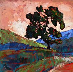 A salmon red sky appears over this California Oak, in this oil painting by Erin Hanson