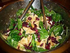 Pasta, chicken, spinach salad